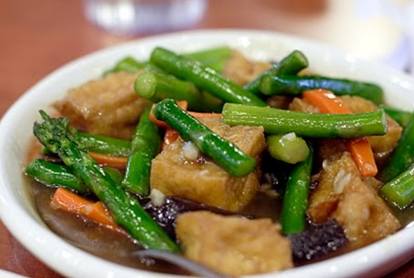 resepi makanan sihat tofu asparagus masak periuk nasi