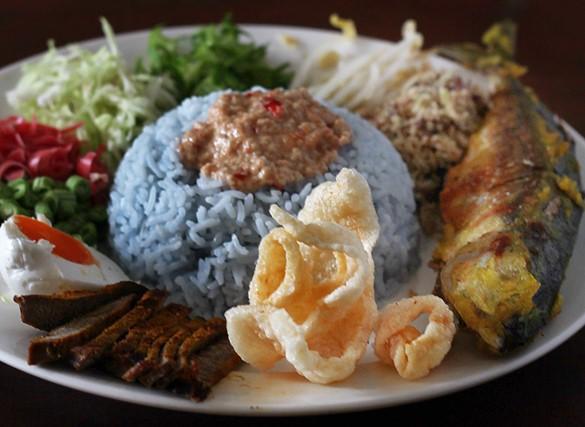 resepi nasi kerabu kelantan biru original simple 01