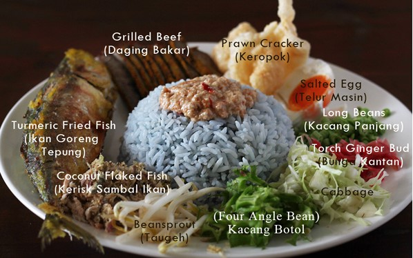 resepi nasi kerabu kelantan biru original simple 03