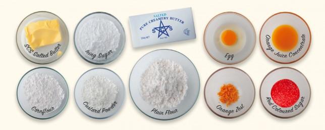 bahan bahan biskut semperit dahlia orange surprise sukatan cawan