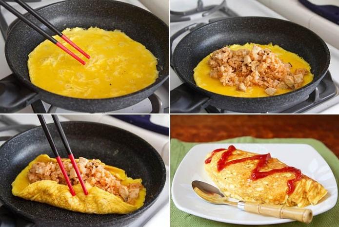 resepi telur omelette gulung isi nasi untuk berbuka