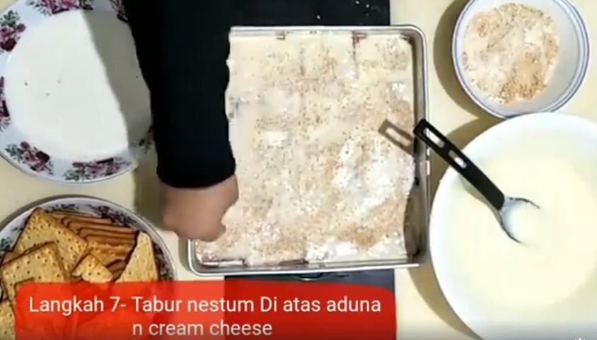 resepi cheesekut guna biskut cream cracker tanpa bakar 07