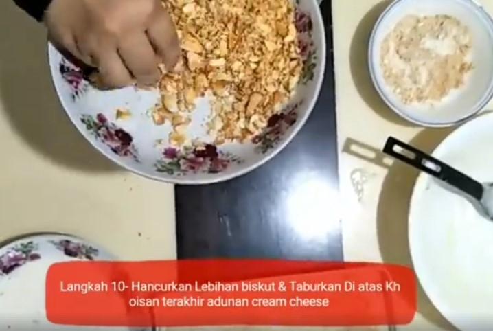 resepi cheesekut guna biskut cream cracker tanpa bakar 10