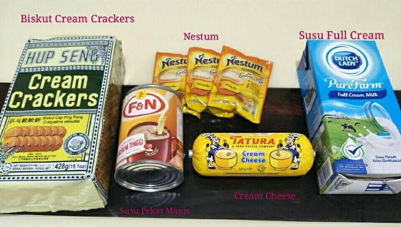 resepi cheesekut guna biskut cream crackers tanpa bakar bahan bahan