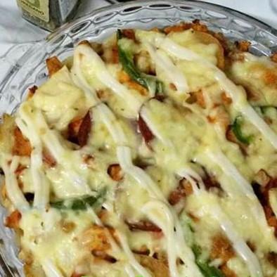 resepi pizza sosej guna roti tanpa telur paling mudah 02