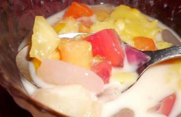 resepi puding kastard buah koktail berkuah susu 01