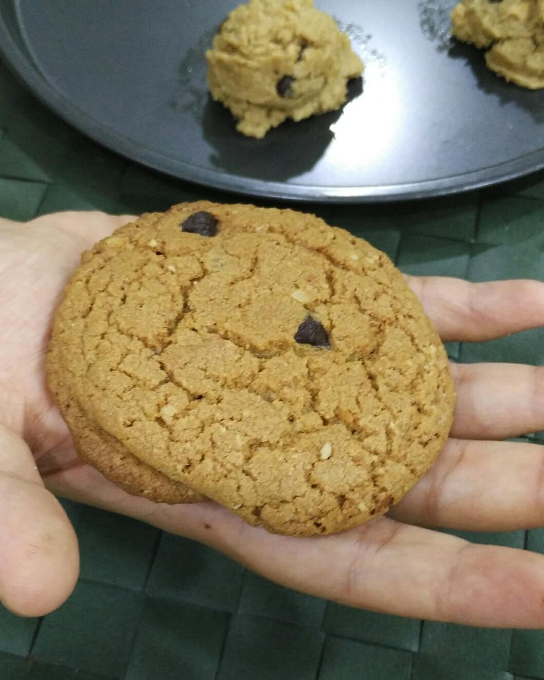 resepi biskut oat chocolate chip cookies subway diet langkah demi langkah