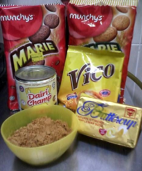 bahan-bahan resepi kek batik cappucino ala sarawak
