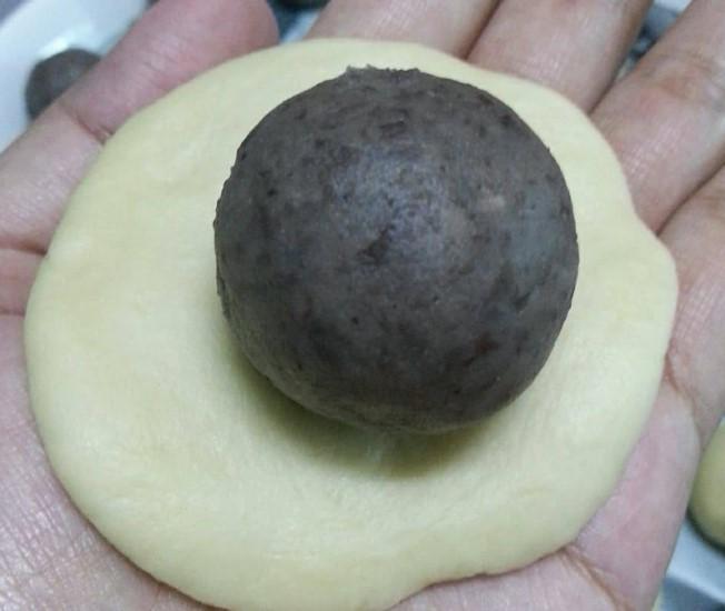 resepi pau goreng inti kacang merah gebu tanpa telur 04