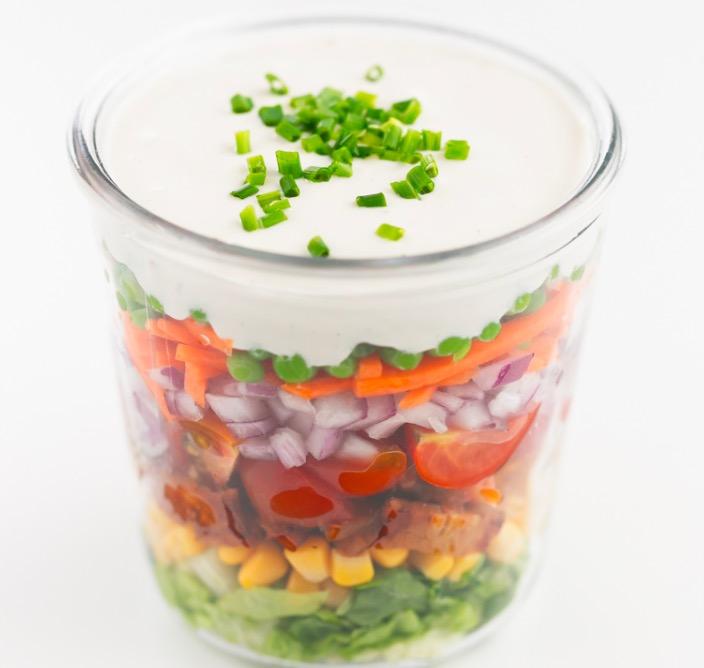 Delicious 7-layer vegan salad