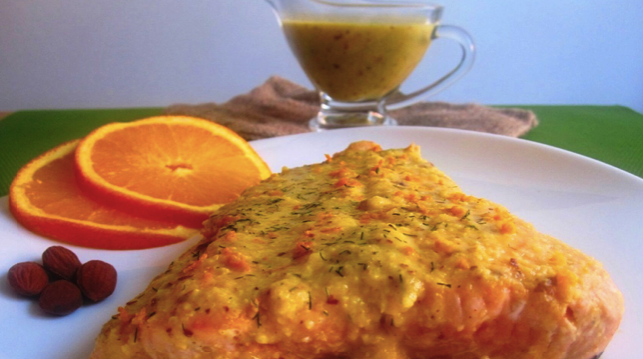 orange salmon with almond sauce for lowering cholesterol